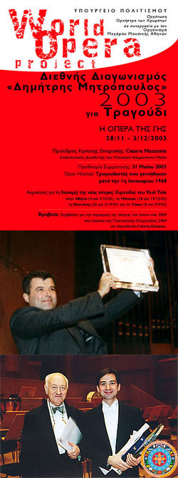 "1.	The poster of the ""International Competition Dimitris Mitropoulos 2003""